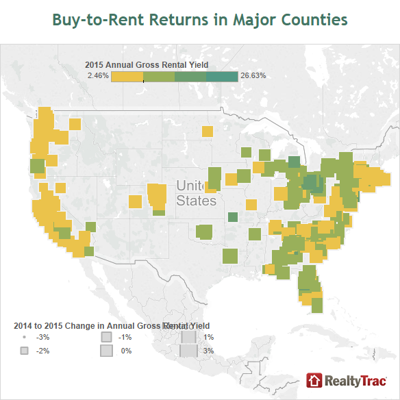 RealtyTrac BuytoRent Housing Market Analysis July - Us rental yield map